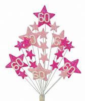 Star age 60th birthday cake topper decoration in shades of pink - free postage